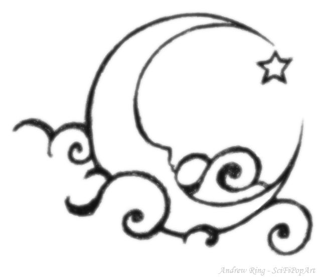 Half Moon and Stars Drawings