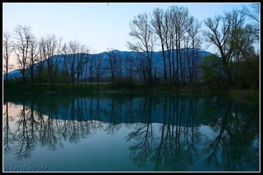 Pond in spring evening by klavdijo99