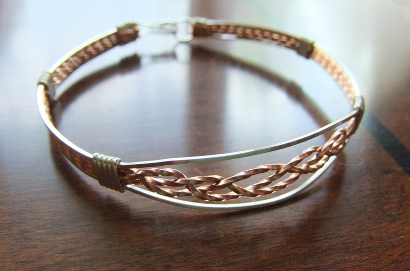 Braided Copper Silver Bangle by SRTolton