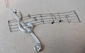Treble Clef Musician's Pendant- Silver Swarovski by SRTolton