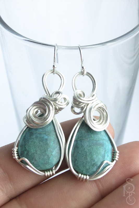 Ocean Wave Chrysocolla and Silver Earrings by pixie-trick