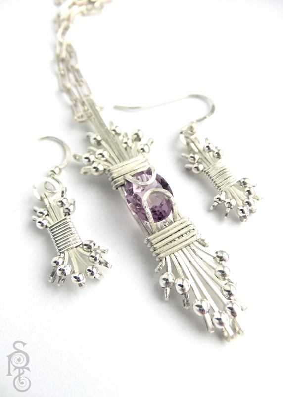 Art Deco Sun Burst Set - Silver and Amethyst by pixie-trick