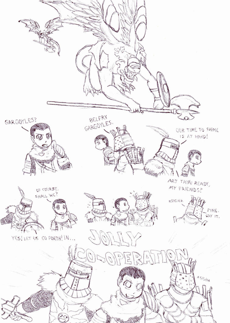 Dark Souls: Sunbros vs. the Belfry Gargoyles by Cerberus123
