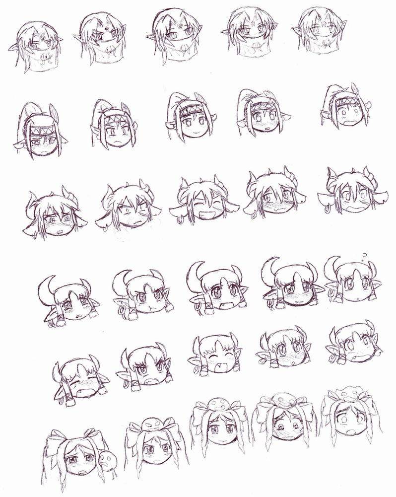 MGE expressions practice 1: Hero's Harem by Cerberus123