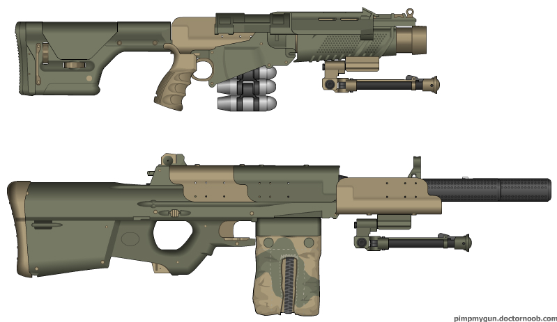 Weapons of Solean Naval Infantry: DGL30 and M13 MG by Super6-4