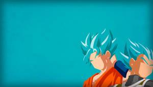 Goku and Vegeta SSG Blue - Minimalist