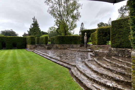 Dyffryn Gardens in the rain stock 9