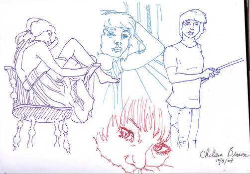 4 people, contour lines