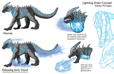 Lightning Drake Creature Sheet by kmccaigue