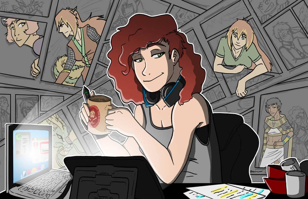 The Late Night Manga Artist by kmccaigue