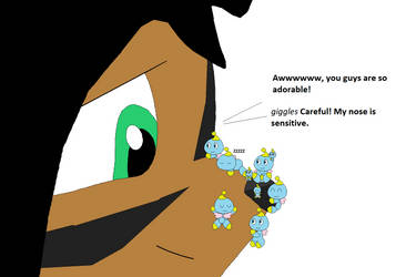 Giantess Nicole with Chao on her nose