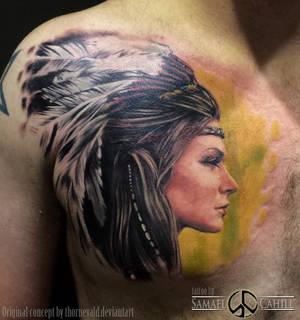 Girl in head dress tattoo