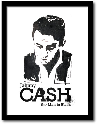 Black And White Johnny Cash Posters