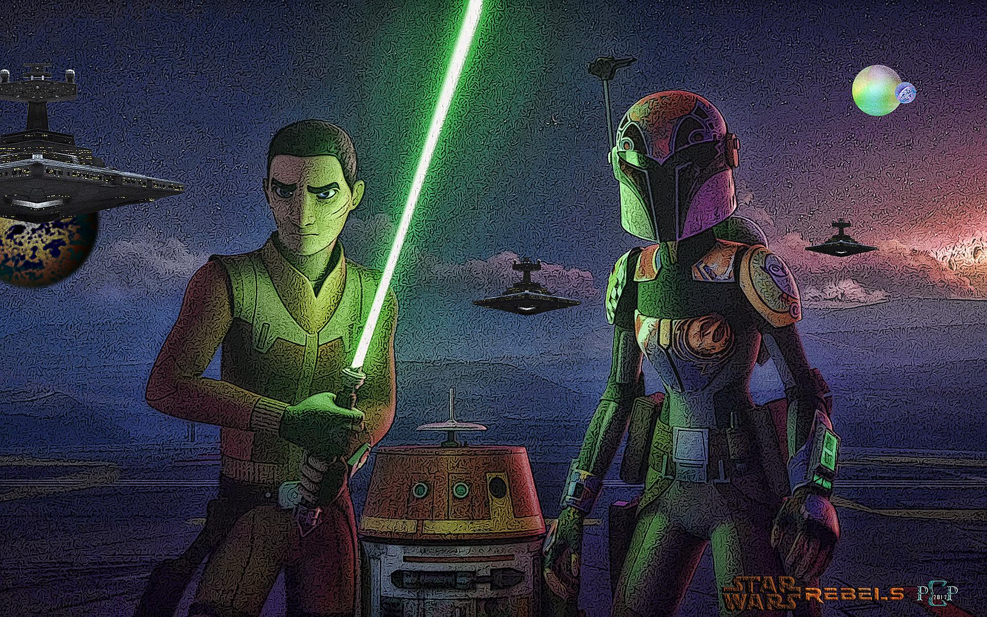 Fanart Star Wars Rebels Ezra Chopper And Sabine By Csuk 1t On Deviantart