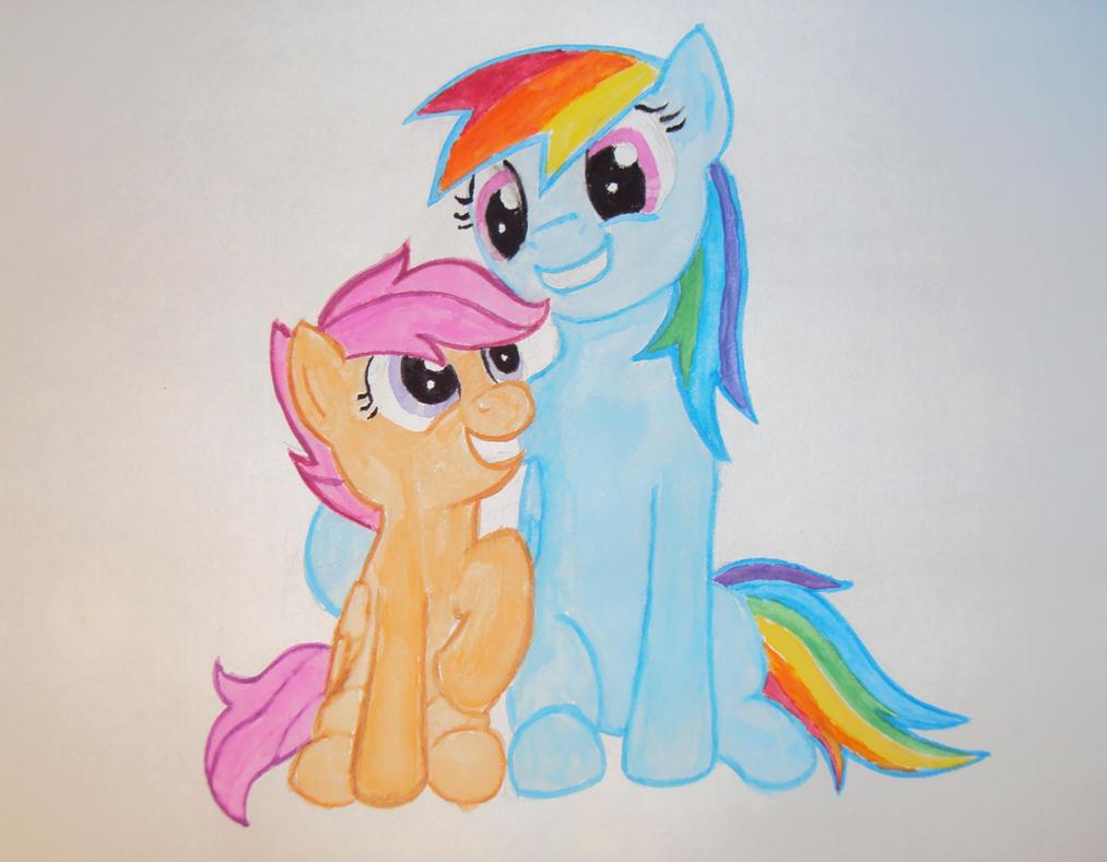 Scootaloo and Rainbow Dash by tdwbrisingr