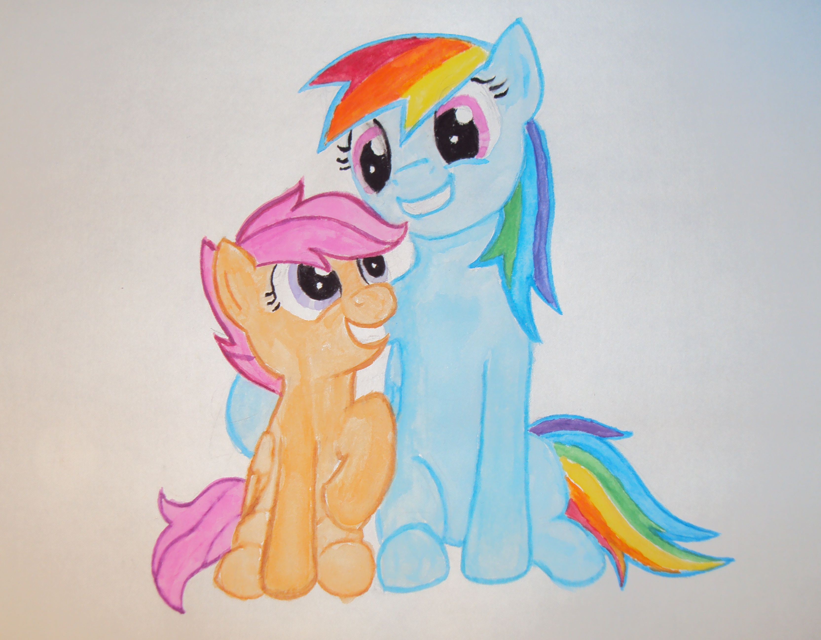 Scootaloo and Rainbow Dash by tdwbrisingr