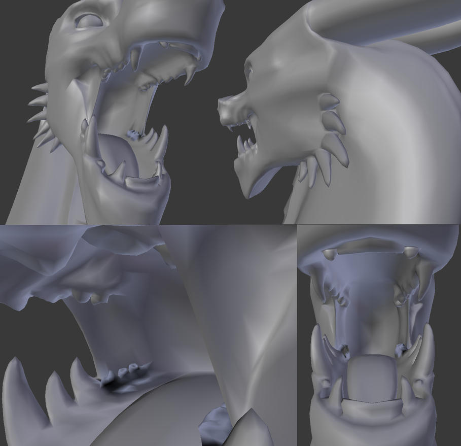 Dragon Head Model Teeth Closeup by CamKitty2
