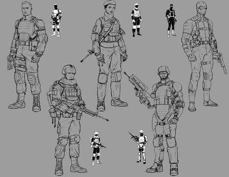 Art Test - Military Game: Thumbs + Initial Designs