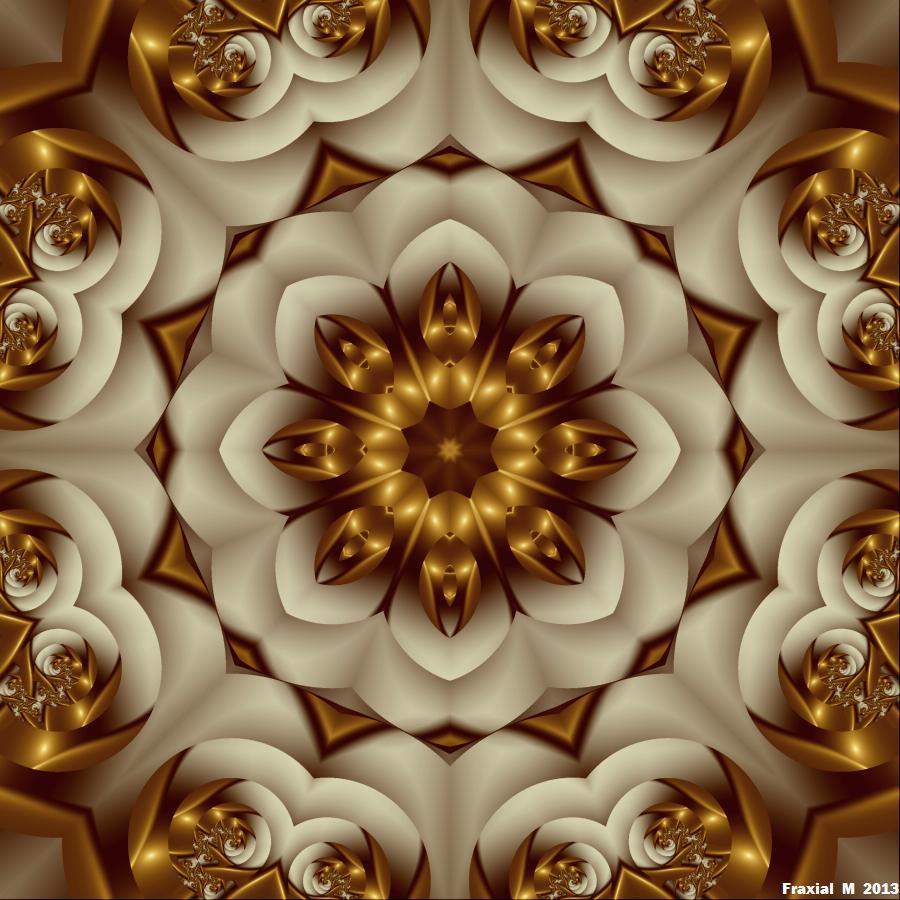 Golden Flower Mandala By Fraxialmadness3