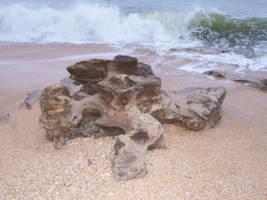 rolling wave, rock, beach