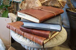 Stock Leather Books stacked