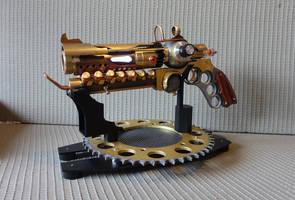 Steampunk revolver on stand