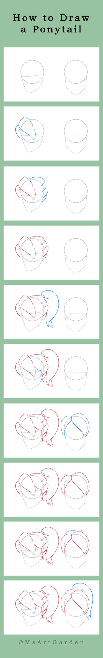 How to Draw a Ponytail by MsArtGarden