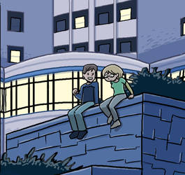 Outside the residence hall by itswalky