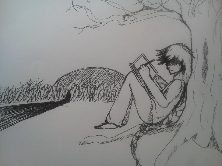Hunter sketching by O-P-Alaynius