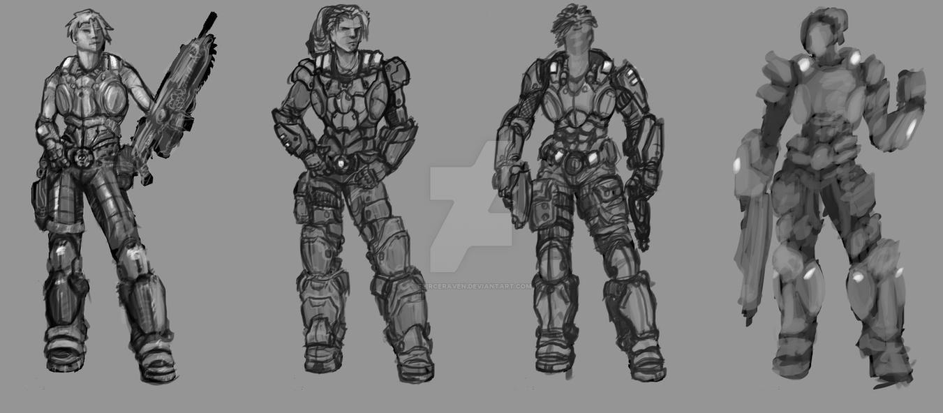 Gears Female concepts - WIP by FeirceRaven