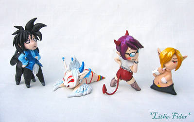 4 Chibi's - Sculpey by Lithe-Fider