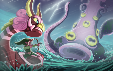 Link vs Octorok (v2) by funymony