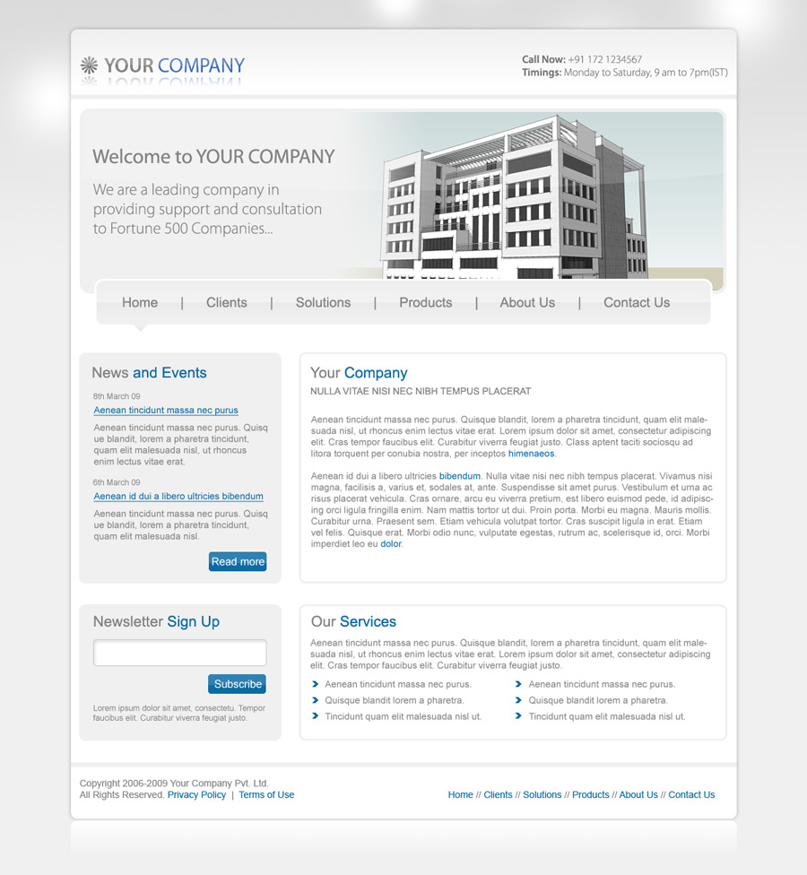 Your Company PSD Template by rjoshicool