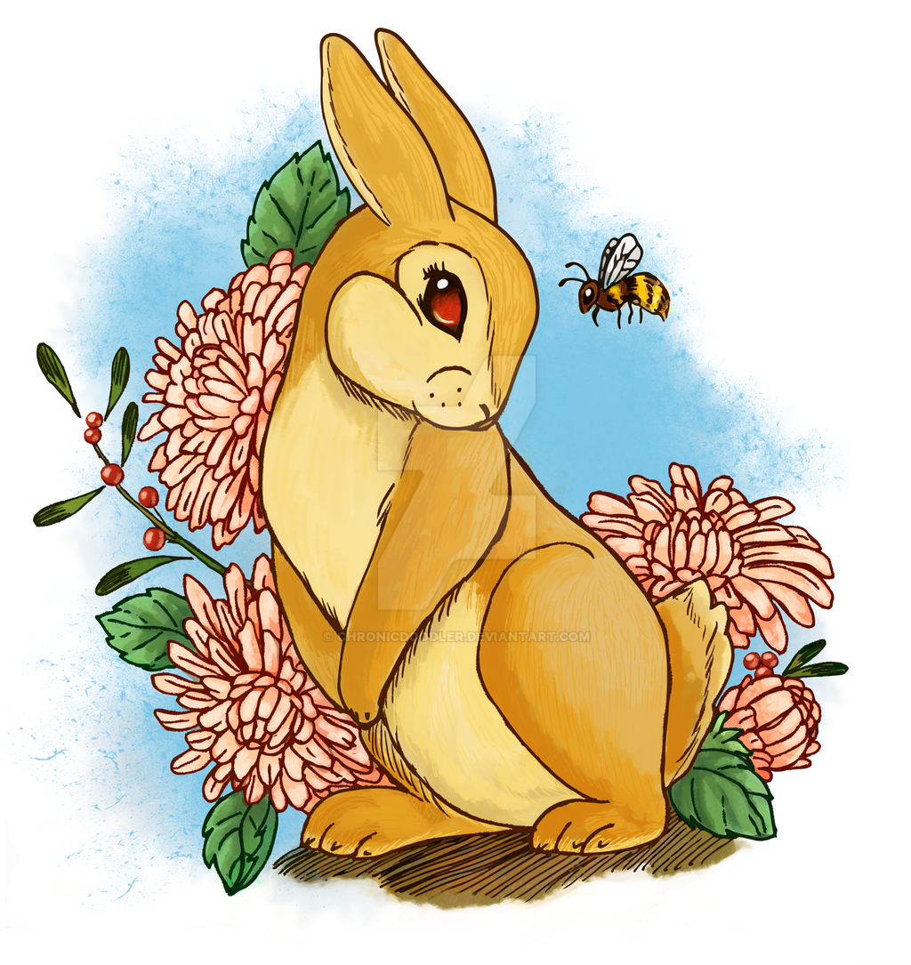 Bunny and Flowers by chronicdoodler