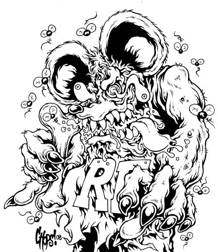 Ed Roth Rat Frank Tribute By Beejaydel On Deviantart Rat Fink Coloring Pages