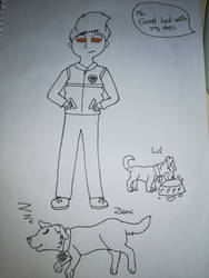 Ryder and my dogs(uncolored) by FaraWolfdog
