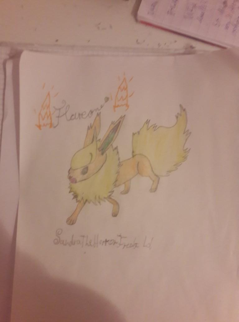 My own Flareon drawing!! by SandraTheHorrorFreak