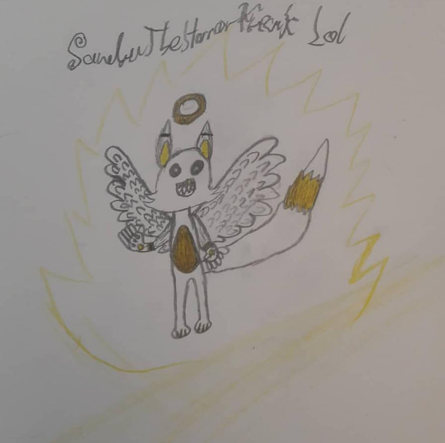 My furry angel OC named... angel! XD. by SandraTheHorrorFreak