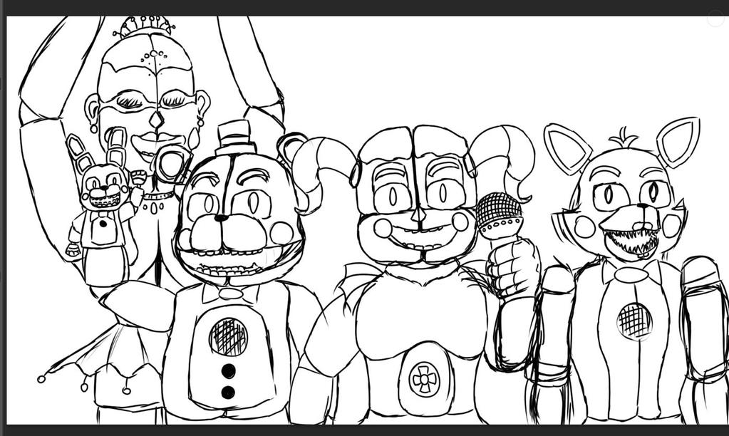 D Line Drawings Locations : Half finished fnaf sister location drawing by mystictabbs