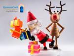 Rudolph does stumble a busy Santa Claus !