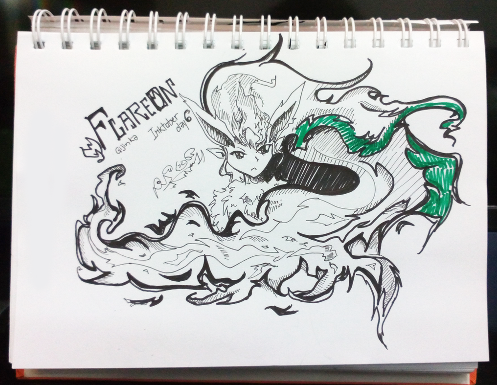 Inktober D6 - Flareon Gijinka by firekyuubisasuke