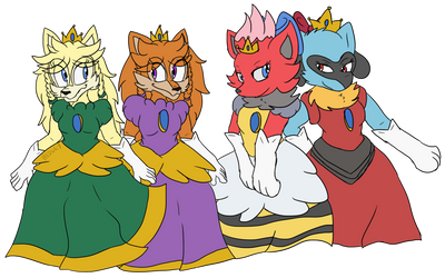 Comm: Aeriel, Athena, Princess Zorua and Princess by Hedgey