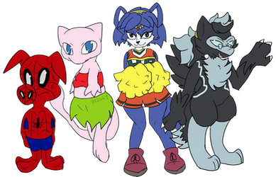 Comm: Spider-Ham, Mew, Krystal and Kira by Hedgey