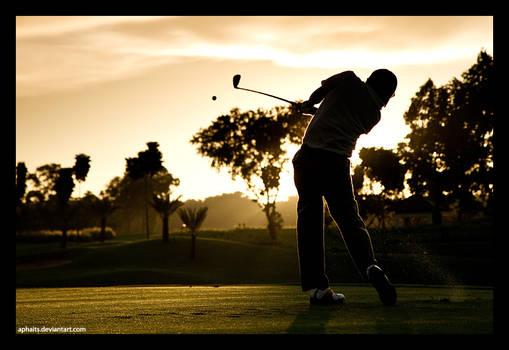 Golf Swing on Sunset