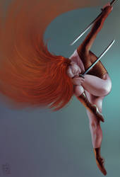 Woman with swords by OZtheW1ZARD