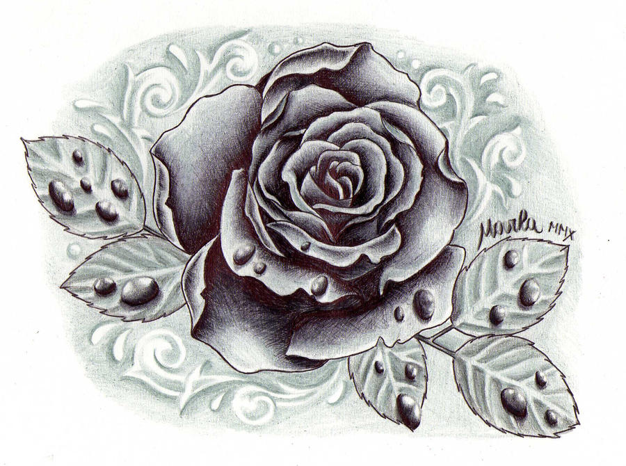 black and grey rose with drops by zeromarla on deviantart. Black Bedroom Furniture Sets. Home Design Ideas