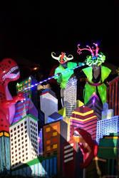 Glowing cityscape battle by ClockworkRuin