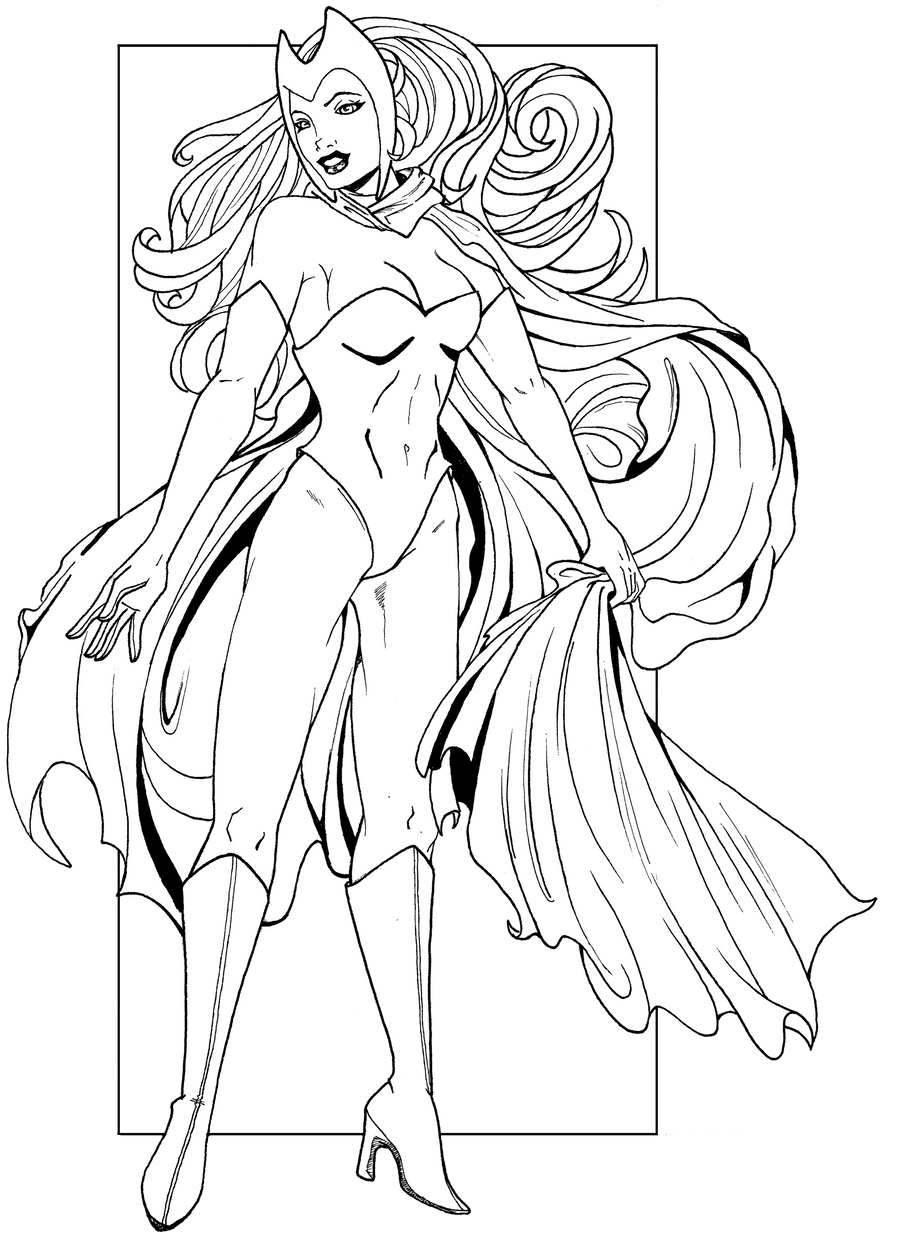 Scarlet Witch line art by JaclynnPocchiari on DeviantArt