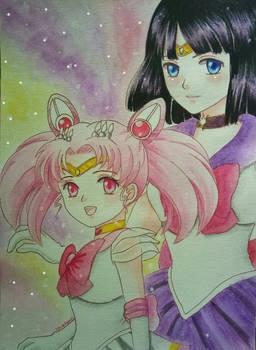 Sailor Chibimoon and Sailor Saturn