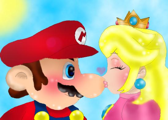 mario kissing peach naked